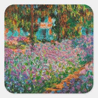 Irises In Monets Garden Square Sticker