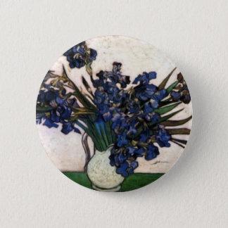 Irises in Vase by Vincent Van Gogh 2 Inch Round Button