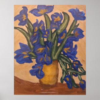Irises In Vase Print
