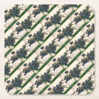 Irises In Vase (Van Gogh) Square Paper Coaster