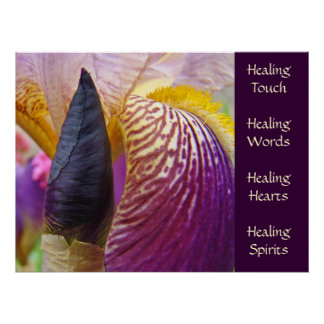 Irises prints Healing Touch Words Hearts Spirits Poster