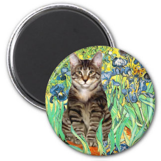 Irises - Tabby Tiger cat 30 2 Inch Round Magnet