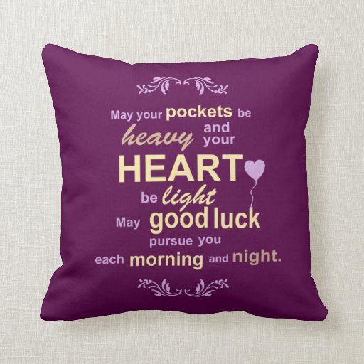 Irish Abundance Happiness and Good Luck Blessing Pillows