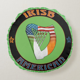 Irish American Celtic Harp Round Cushion