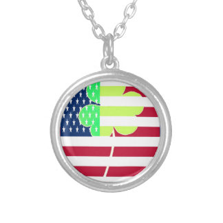 Irish American Flag Shamrock Clover St. Patrick Silver Plated Necklace