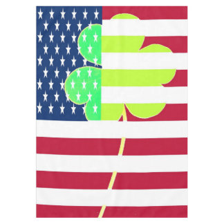 Irish American Flag Shamrock Clover St. Patrick Tablecloth