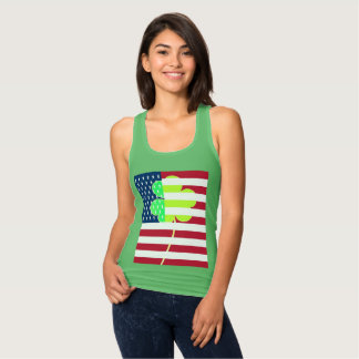Irish American Flag Shamrock Clover St. Patrick Tank Top