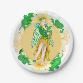 "IRISH ANGEL ST-PATRICK CARTOON  Paper Plates 7"""