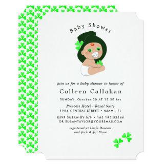 Irish Baby Leprechaun Lucky Shamrock Baby Shower Card