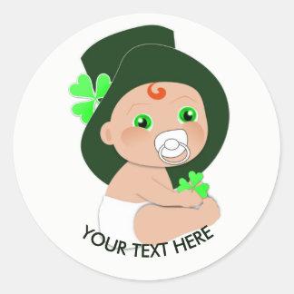 Irish Baby Leprechaun Lucky Shamrock Personalized Classic Round Sticker