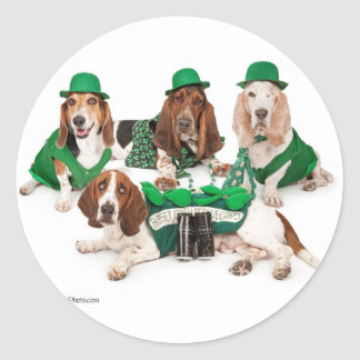 Irish Basset hound quartet Classic Round Sticker