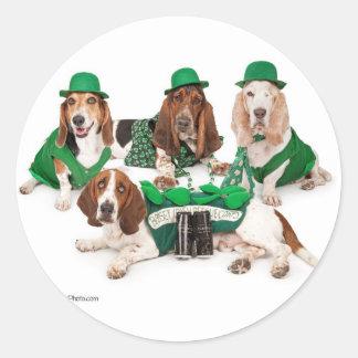 Irish Basset hound quartet Round Sticker