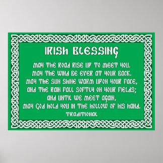 Irish Blessing 1 in Celtic Knot Frame Poster
