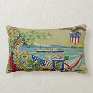Irish blessing and vintage art lumbar pillow