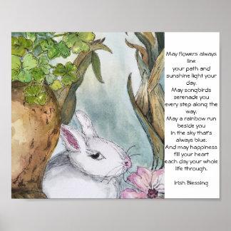 Irish Blessing Bunny 10x8 poster
