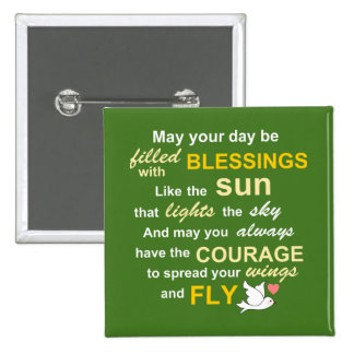 Irish Blessing for Courage - Typography in Green Button