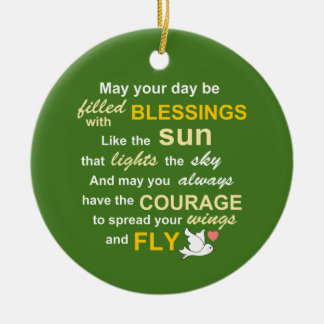 Irish Blessing for Courage - Typography in green Ceramic Ornament