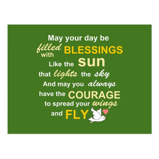 Irish Blessing for Courage - Typography in Green Post Card