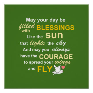 Irish Blessing for Courage - Typography in green Poster