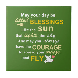 Irish Blessing for Courage - Typography in green Tile