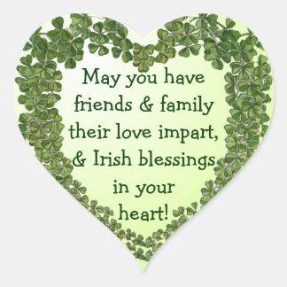 Irish blessing heart stickers