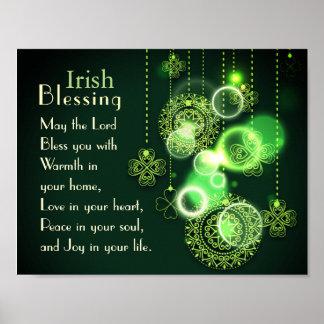 Irish Blessing Love in your heart, Shamrock Design Poster
