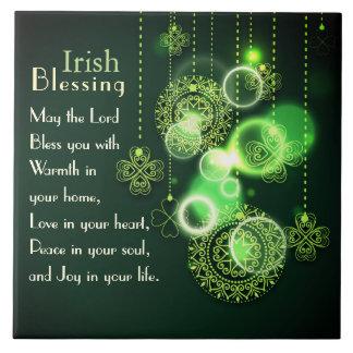 Irish Blessing Love in your heart, Shamrock Design Tile