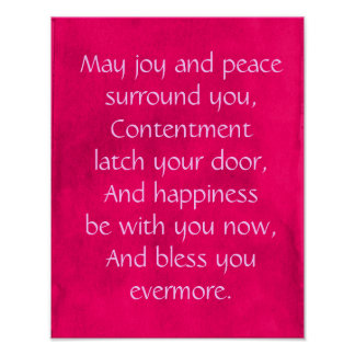 Irish Blessing Quote on a Pink Background Print