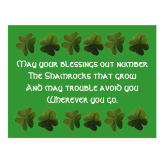 Irish Blessing Shamrock Postcard