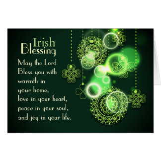 Irish Blessing The Lord Bless You, Shamrock Design Card