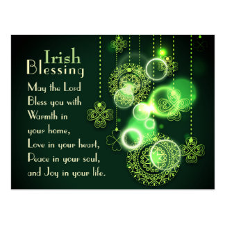 Irish Blessing The Lord Bless You, Shamrock Design Postcard