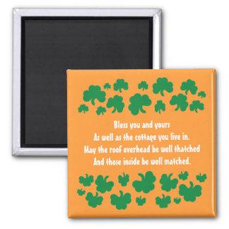 Irish blessing with shamrocks magnet