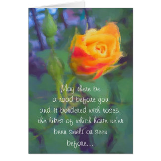 Irish Blessing Yellow Rosebud Card
