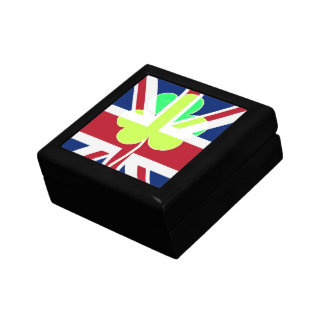 Irish British Flag Shamrock Clover St. Patrick UK Trinket Box