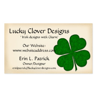 Irish Business Card :: Green Fabric Clover Design