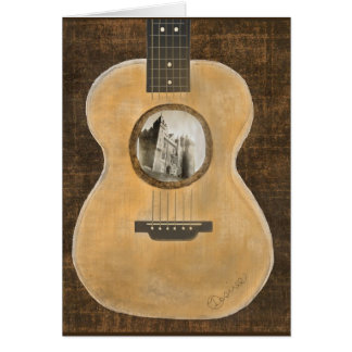 Irish Castle Acoustic Guitar Greeting Card