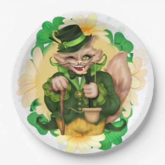 "IRISH CAT 2 ST-PATRICK CARTOON  Paper Plates 9"""