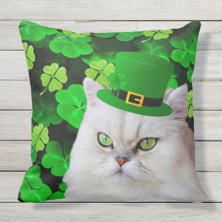 Irish Cat Throw Pillow