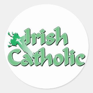 Irish Catholic Cross Round Sticker