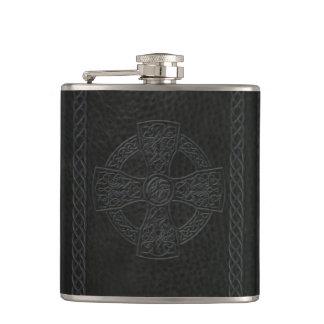 Irish Celtic Cross Faux Leather Flask