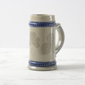 Irish Celtic Happy St Patrick Gray/blue Beer Mug