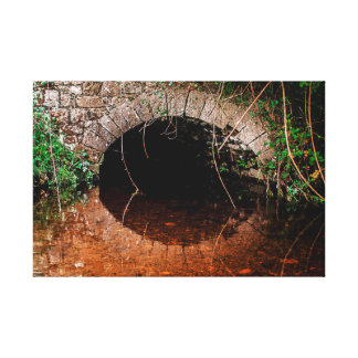 Irish Celtic hidden old bridge over small stream Canvas Print