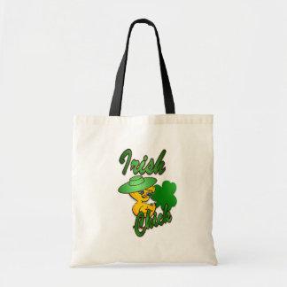 Irish Chick in Green Tote Bag