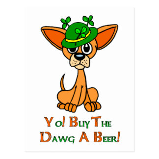 Irish Chihuahua Postcard
