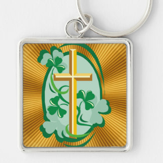 Irish Christianity Silver-Colored Square Keychain