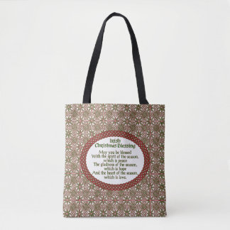 Irish Christmas Blessing, Red Green Celtic Holiday Tote Bag