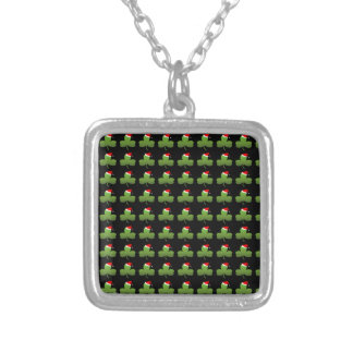Irish Christmas Clover Pattern Silver Plated Necklace