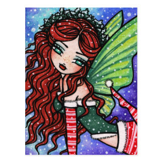 Irish Christmas Winter Snowflake Fairy Fantasy Gir Postcard