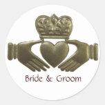 Irish Claddagh Gold Wedding Seals Round Stickers
