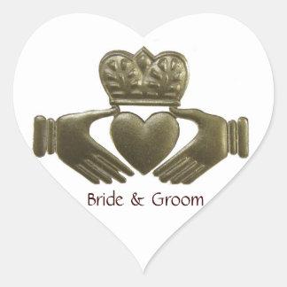Irish Claddagh heart Gold Wedding Seals Heart Sticker